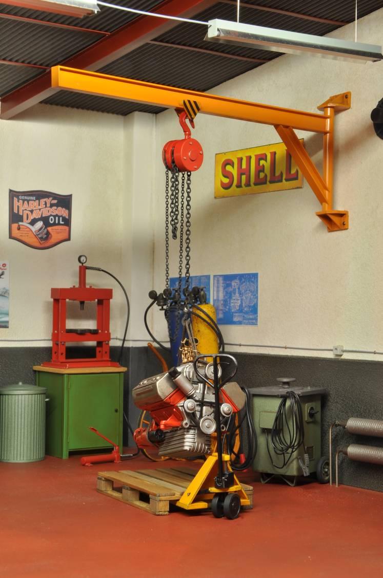 Wand Kran Kettenzug Metall Werkstatt Garage Diorama Deko ...